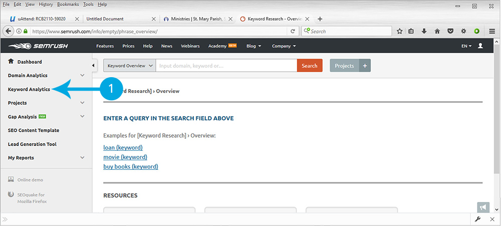 SEMrush Keyword Analytics